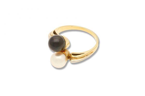 Ring 585 Gelbgold • Zuchtperle • Seitenansicht