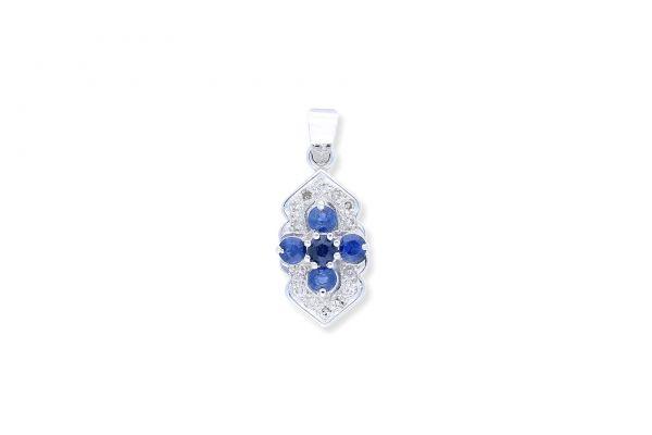 Anhänger 750 Weissgold • Diamanten • Saphire