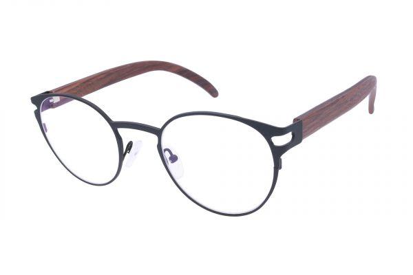Edelweyes Brille LIEZEN - Neusilber - Schwarz - Palisanderholz