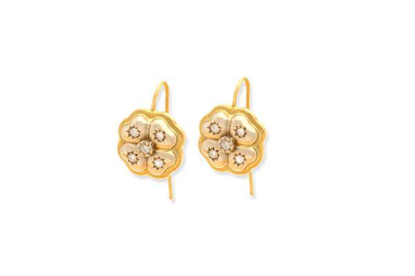 Ohrringe 750 Gelbgold • Weissgold • Brillanten • Kleeblatt