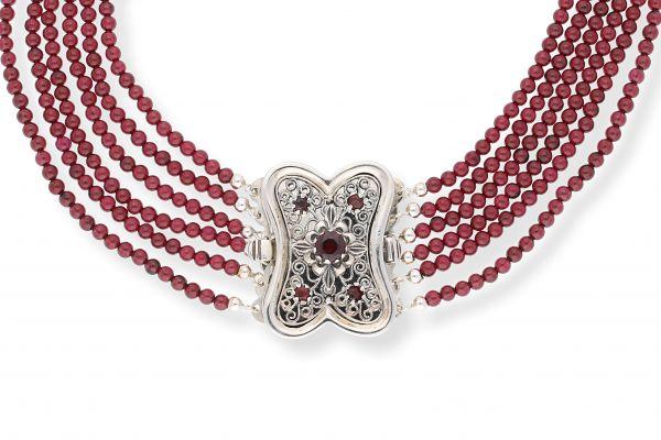 Kropfkette Trachtenschmuck 925 Silber mit Granat
