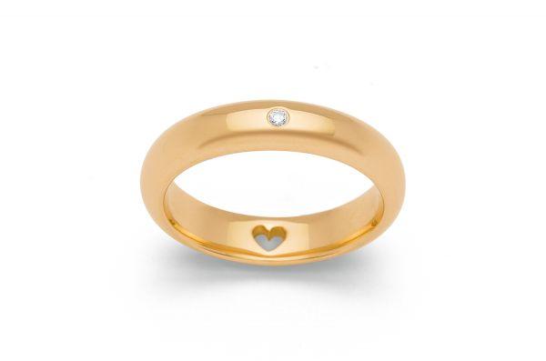 Bastian Ring 925 Silber vergoldet mit 0,03 ct Diamant