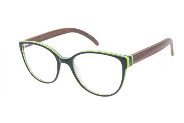 Edelweyes Brille HOCHANGER - Acetat – Schwarz kaschiert - Palisander