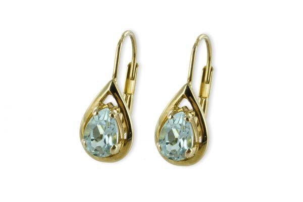 333 Gold Ohrringe mit Blautopas
