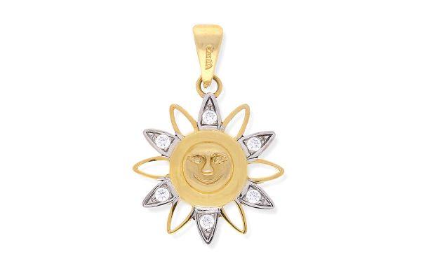 Anhänger Sonne aus 750er Gelbgold • Zirkonia