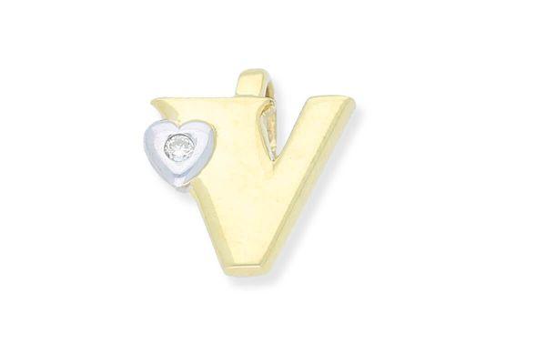585 Gold Anhänger Buchstabe V mit Herz