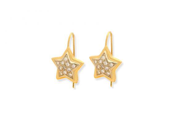 Ohrringe 750 Gelbgold • Weissgold • Brillanten • Stern