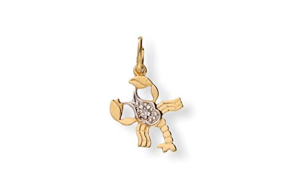 Sternzeichen Krebs - Anhänger 333 Gold mit Diamantbesatz
