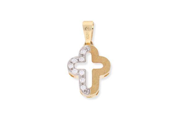 Kreuz Anhänger Gold mit abgerundeten Ecken • Zirkonia