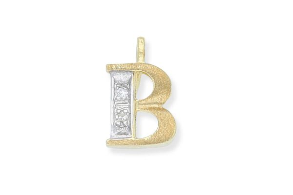 585 Gold Anhänger Buchstabe B mit Diamanten