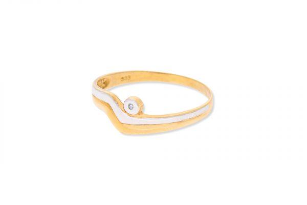 Ring 333 Weiß- & Gelbgold • Diamant