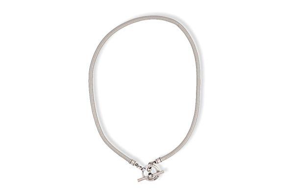 Miglio Halskette N1634M versilbert Leder Schlamm mit Knebelverschluss