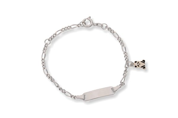Identitätsarmband 935 Silber für Kinder mit Pandabär 14 cm