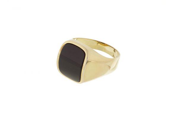 Ring 333 Gelbgold mit Onyx - Gr. 63