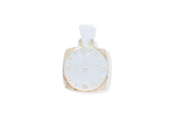 935 Silber Anhänger Ziffernblatt Uhr quadratisch