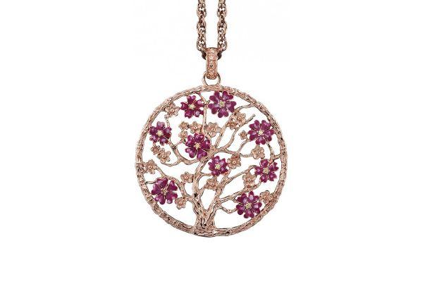 Julie Julsen Lebensbaum L in 925 Silber Rosévergoldet mit rosa Blüten und Zirkonia