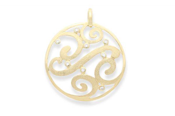 Bastian Anhänger Gold 585 rundes Ornament mit Diamanten - 4342