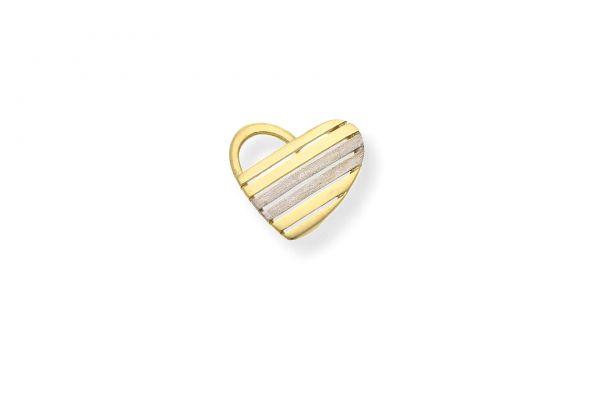 Anhänger 333 Gelbgold • Weißgold • Herz • Vorderansicht