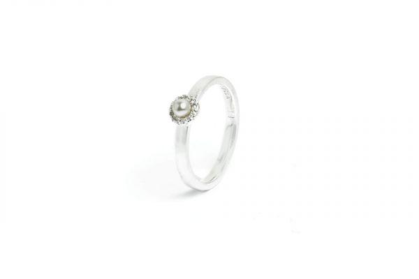 BERND WOLF Silber-Ring Tissy - Zirkonia - Süßwasserperle