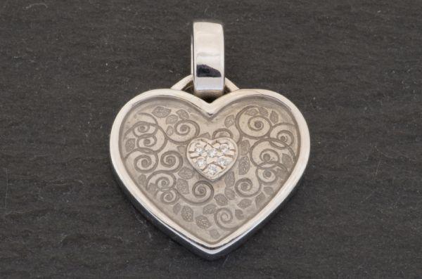 Gerry Eder 925 Silber Trachten Herz Anhänger in Weiß S
