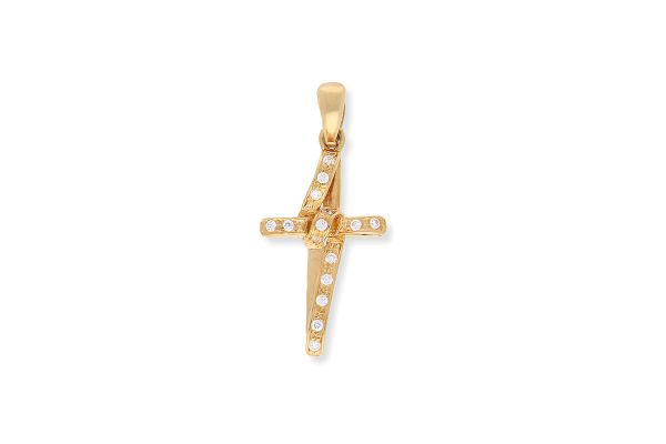 Kreuz Anhänger 750er Gelbgold • Zirkonia