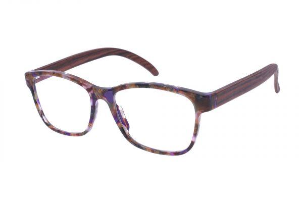 Edelweyes Brille MUGEL - Violett marmoriert - Palisanderholz
