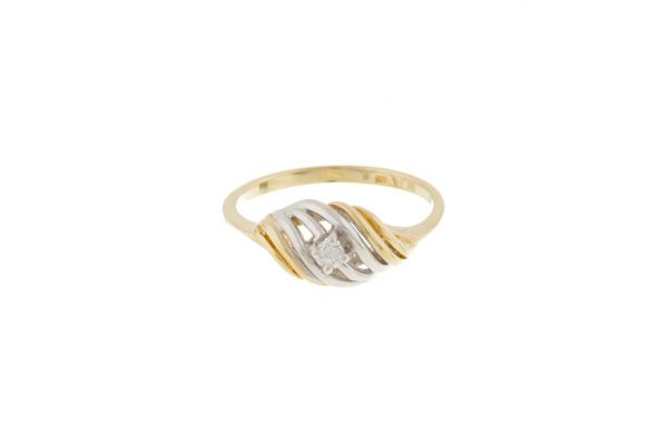Ring 585 Gelbgold • Gelbgold • Weißgold • Brillant • Vorderansicht
