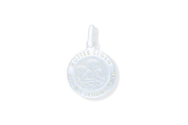 925 Silber Schutzengel Anhänger rund