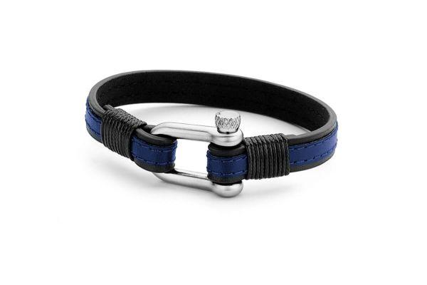 Frank 1967 Schäkel Armband Leder, blau / schwarz