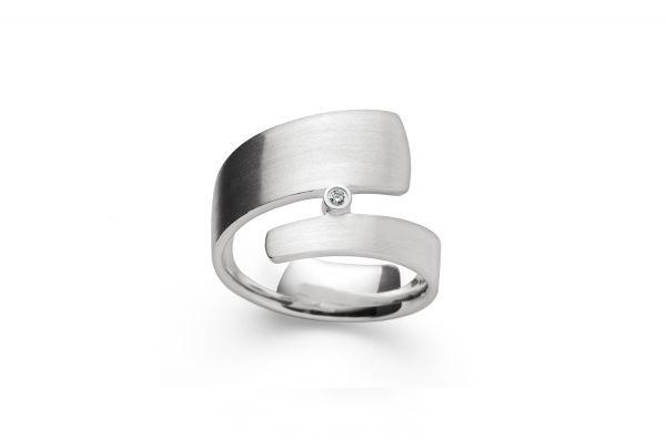Bastian Ring 925 Silber mit 0,02 ct Diamant