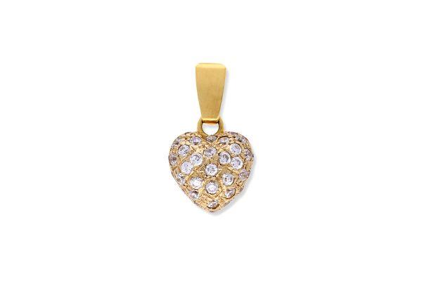 Herz Anhänger aus 750er Gelbgold • Zirkonia
