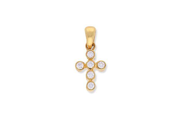 Kreuz Anhänger Zylinder aus 750er Gelbgold • Zirkonia